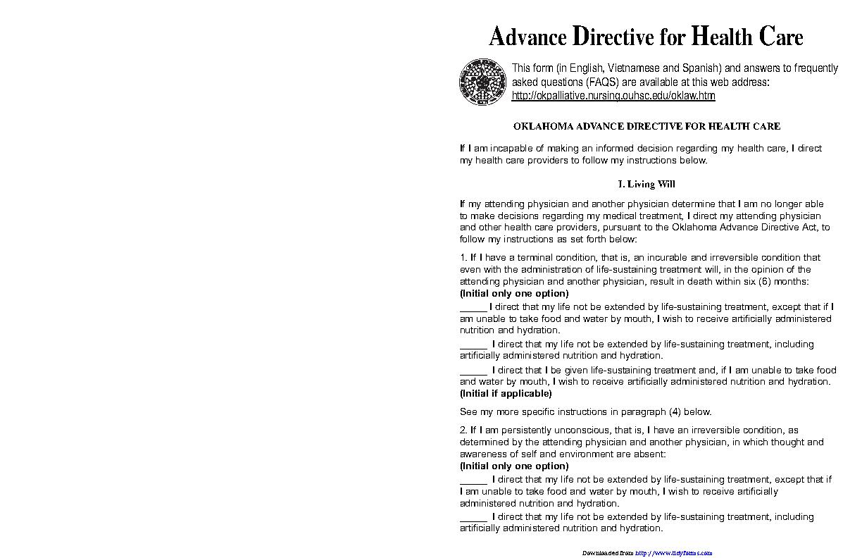 Oklahoma Advance Directive For Health Care