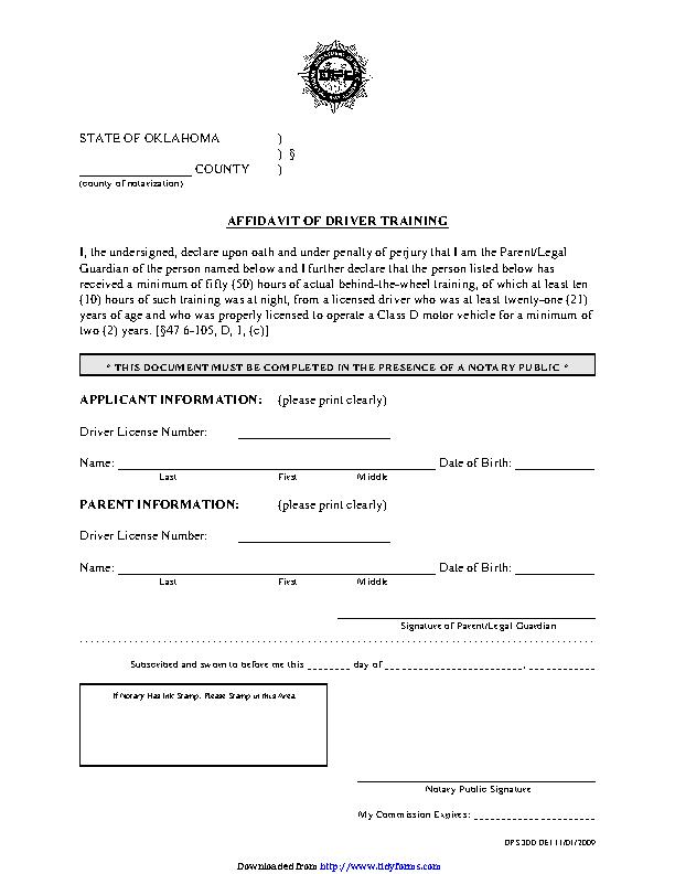 Oklahoma Affidavit Of Driver Training Form