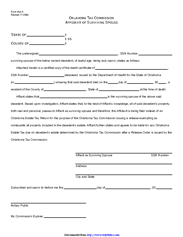 Oklahoma Affidavit Of Surviving Spouse Form