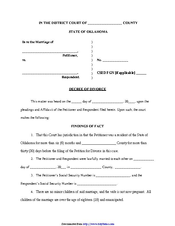 Oklahoma Divorce Decree Form