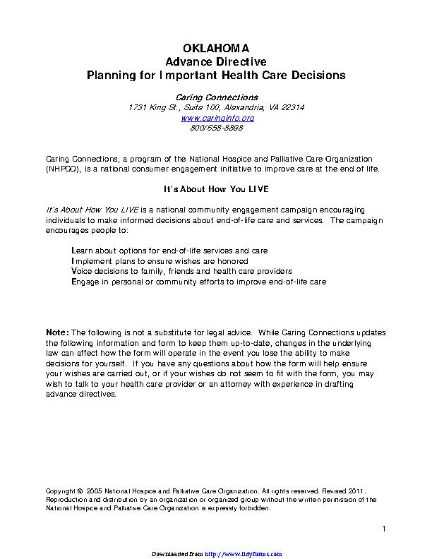 Oklahoma Health Care Advance Directive Form