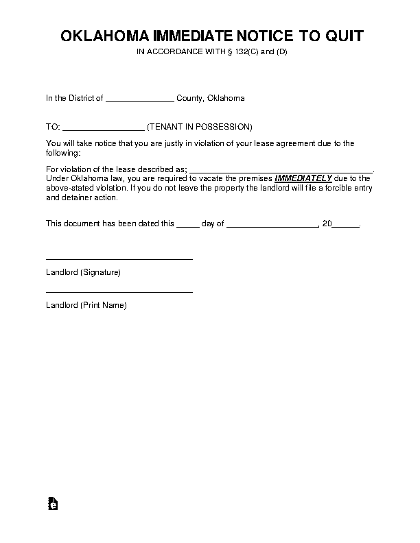 Oklahoma Immediate Notice To Vacate The Premises