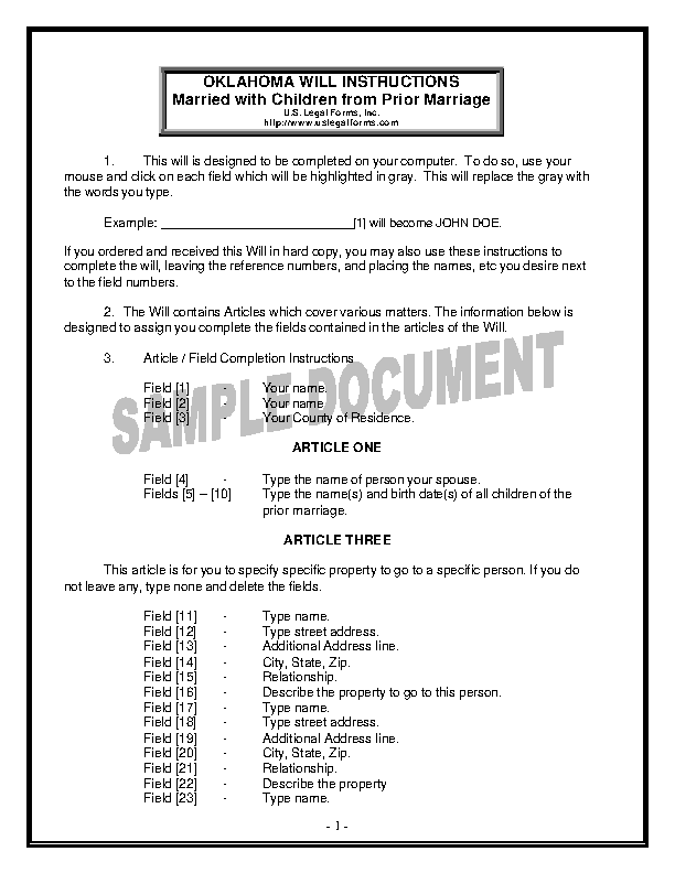 Oklahoma Last Will And Testament Form For Married Person With Minor Children From Prior Marriage