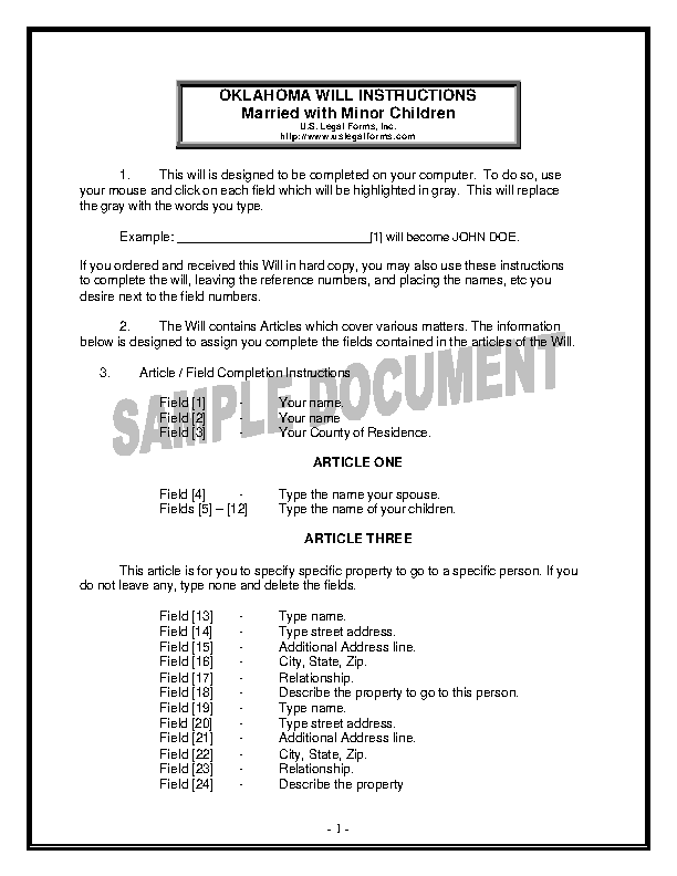 Oklahoma Last Will And Testament Form For Married Person With Minor Children