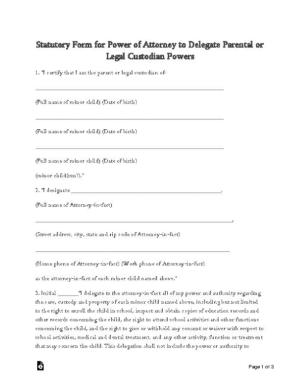 Oklahoma Minor Child Power Of Attorney Form