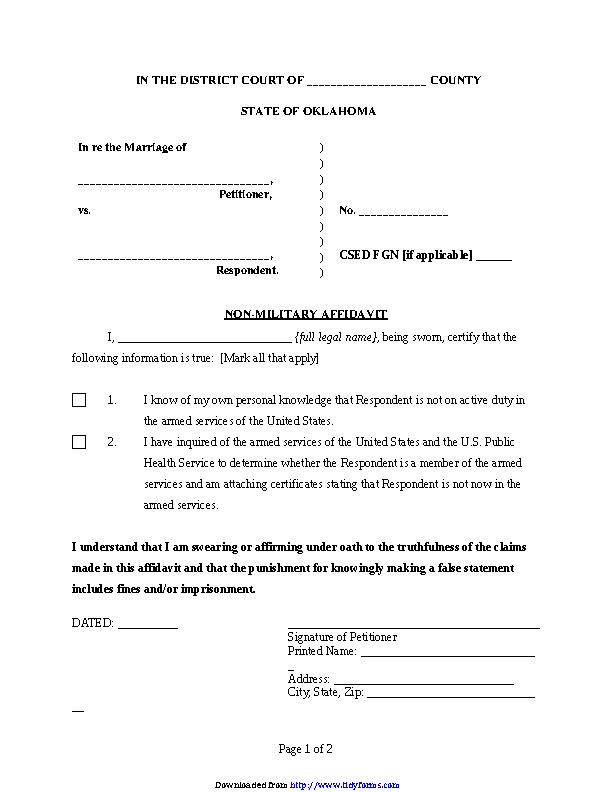 Oklahoma Non Military Affidavit Form