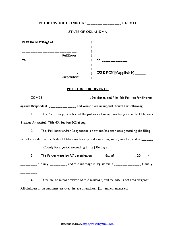 Divorce Application Form Online, Oklahoma Petition For Divorce Form, Divorce Application Form Online