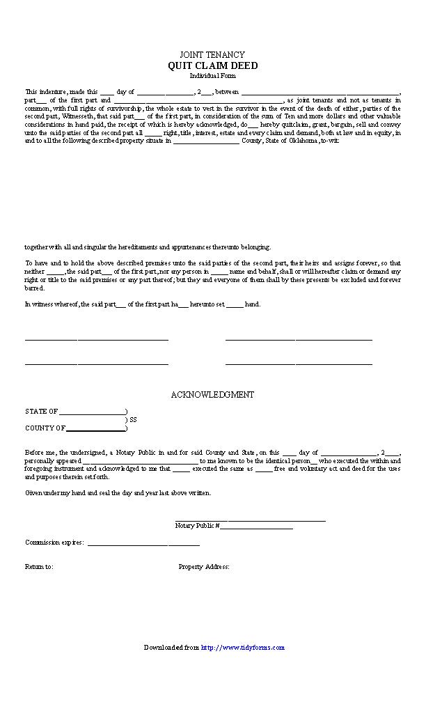 Oklahoma Quitclaim Deed Form