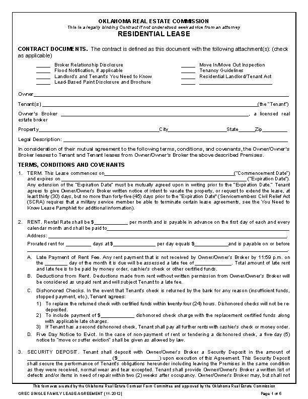 Oklahoma Standard Residential Lease Agreement Template