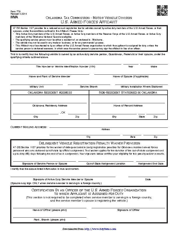 Oklahoma U S Armed Forces Affidavit Form