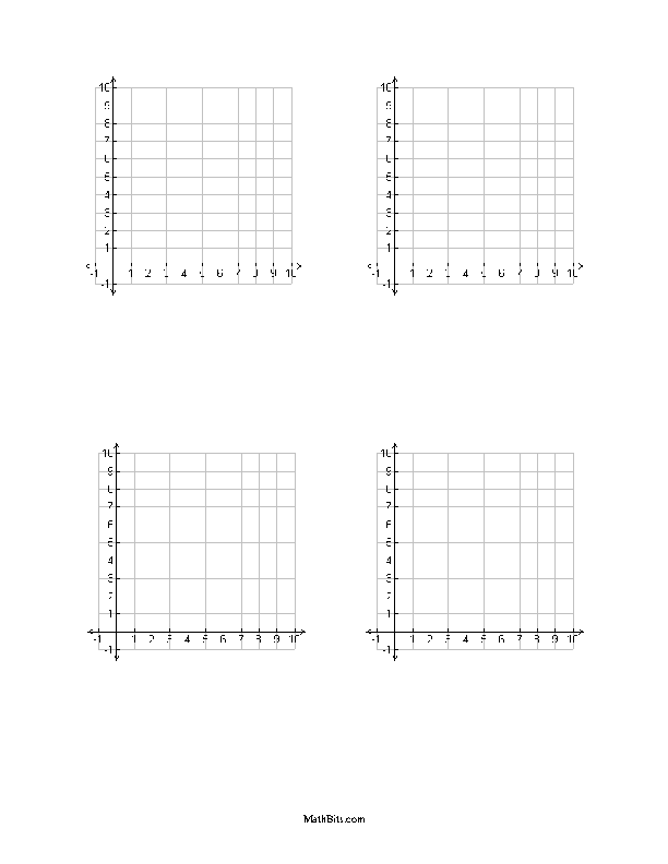 One Page With Four First Quadrant Templates With Labeled Scales