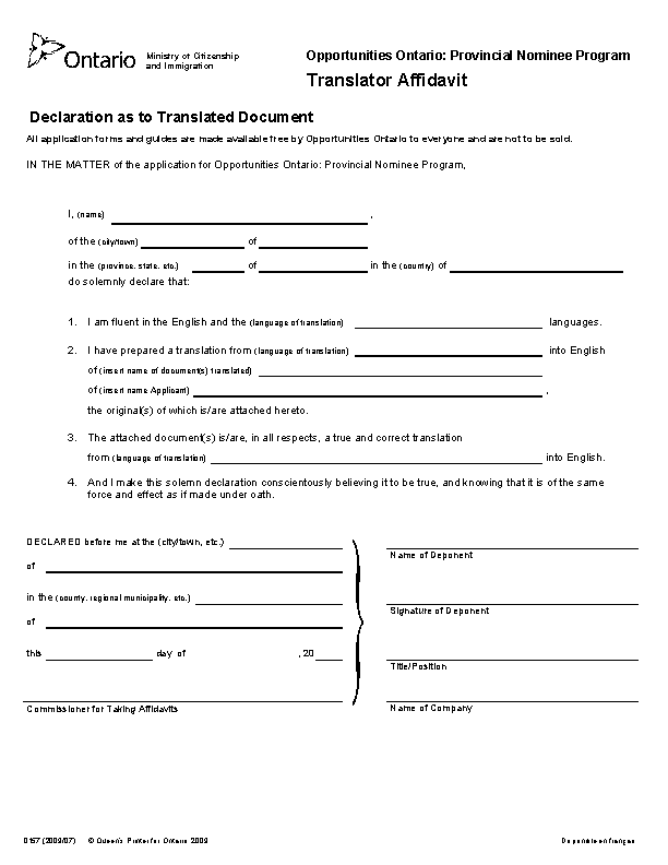 Ontario Translator Affidavit Form