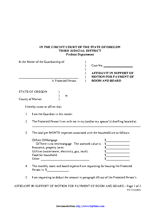 Oregon Affidavit In Support Of Motion For Payment Of Room And Board Form