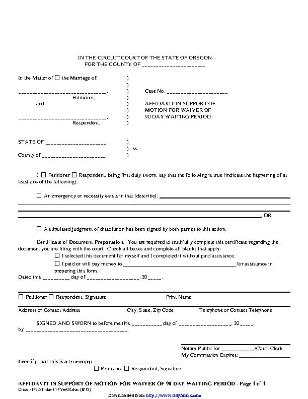 Oregon Affidavit In Support Of Motion For Waiver Form