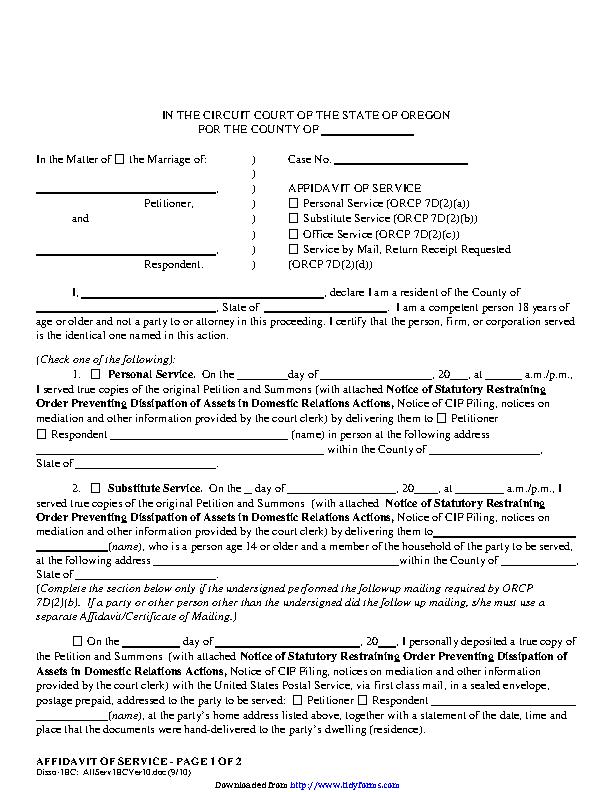 Oregon Affidavit Of Service Form
