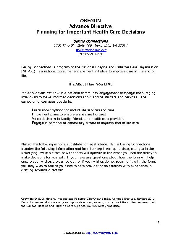 Oregon Health Care Advance Directive Form