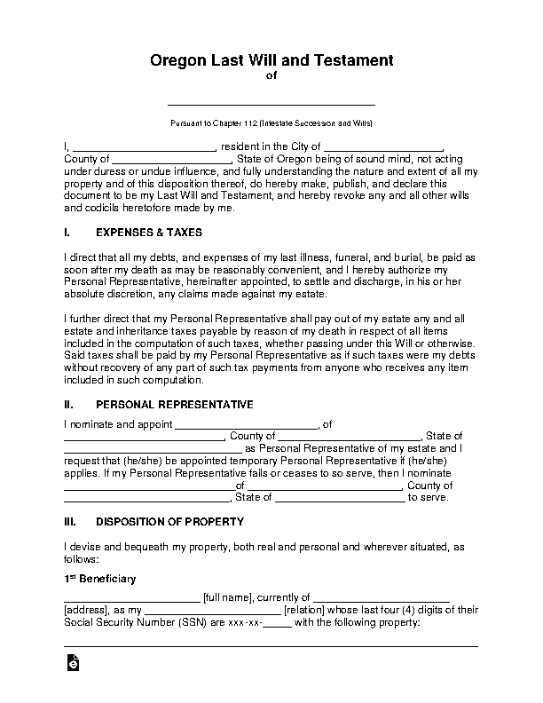 Oregon Last Will And Testament Template