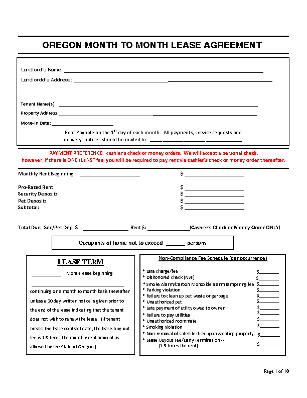 Oregon Month To Month Rental Agreement Template