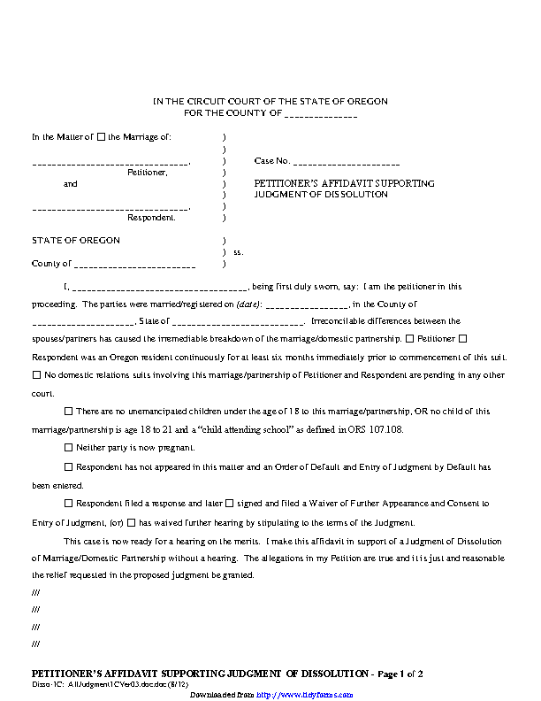 Oregon Petitioners Affidavit Supporting Judgment Of Dissolution Without Children Form