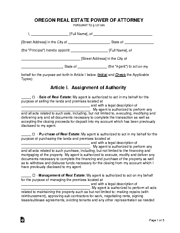 Oregon Real Estate Power Of Attorney Form