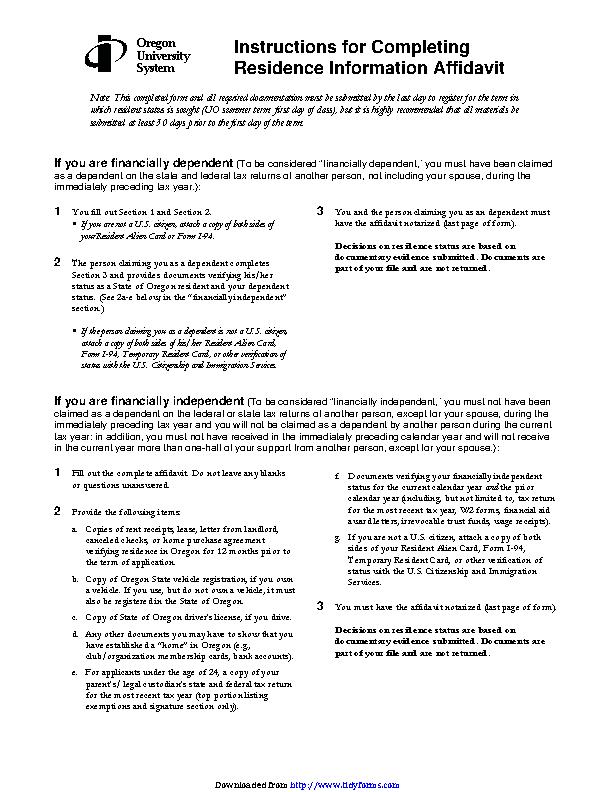 Oregon Residence Information Affidavit Form