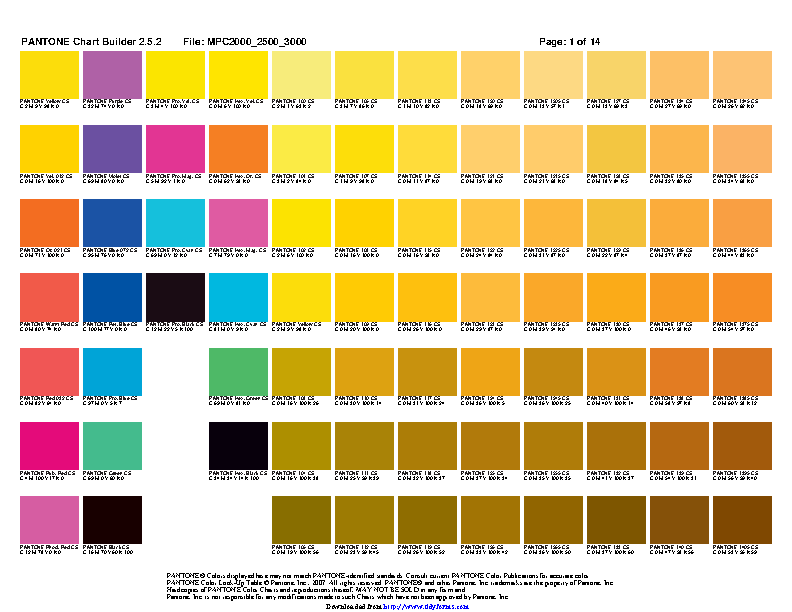 Pantone Color Chart 2 Pdfsimpli