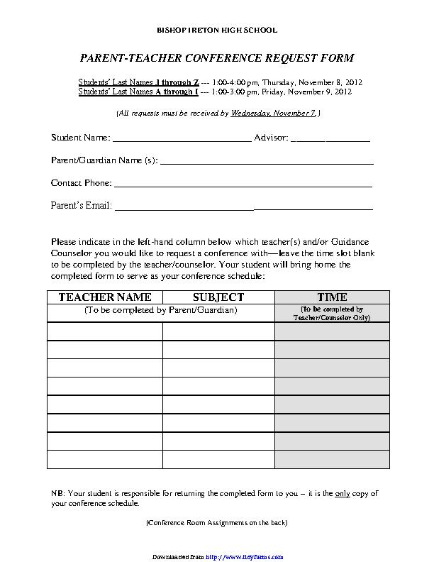 Parent Teacher Conference Request Form