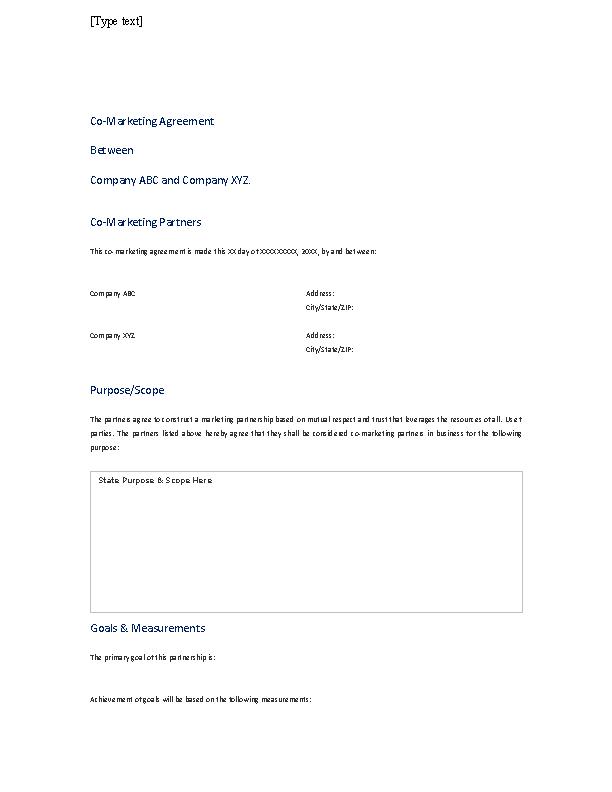 Partnership Marketing Agreement Template