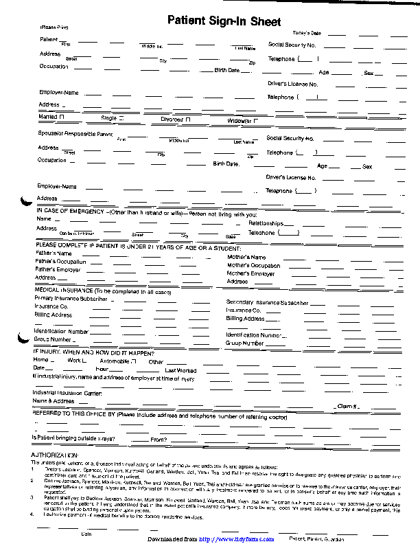 Patient Sign In Sheet Pdf