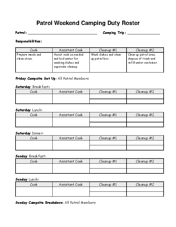 Patrol Weekend Camping Duty Roster Template