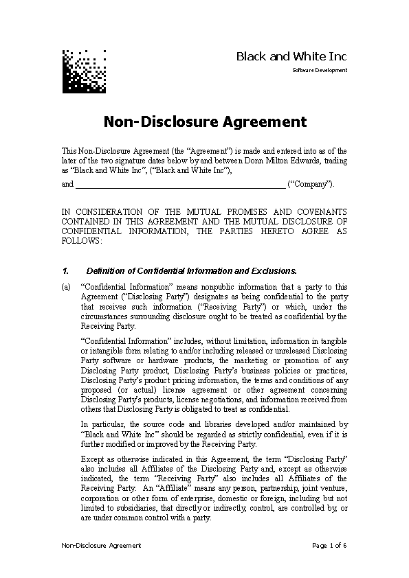 Pdf Document For Non Disclosure Agreement Pdfsimpli