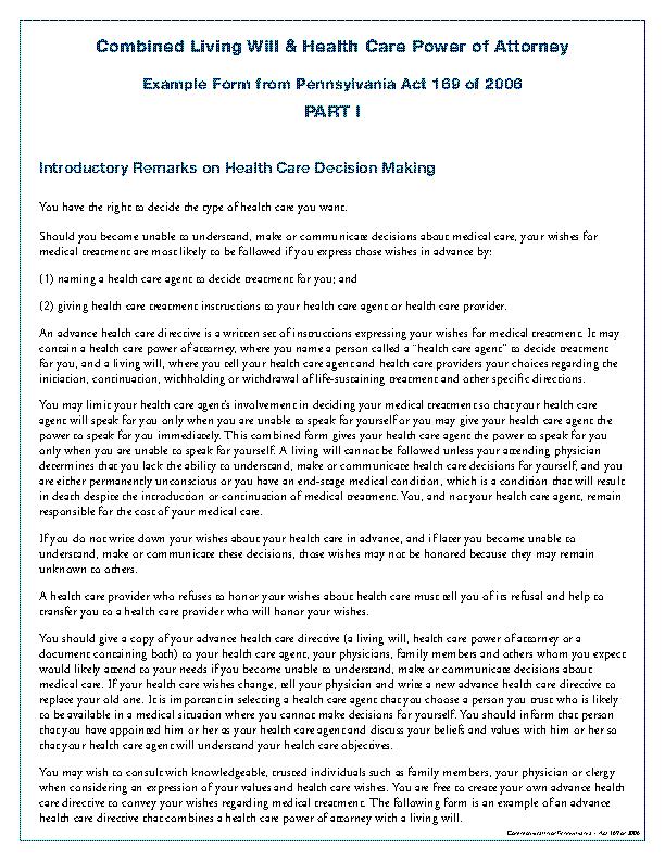 Pennsylvania Advance Directive Form