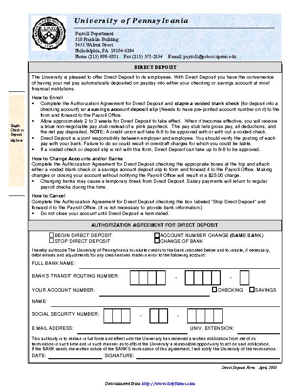 Pennsylvania Direct Deposit Form 3