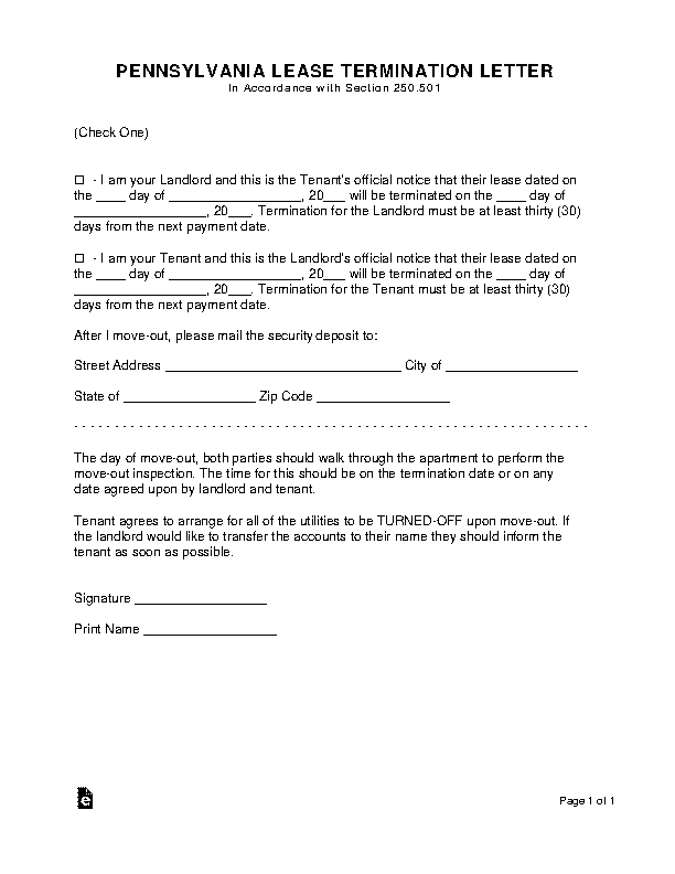 Pennsylvania Lease Termination Letter Form