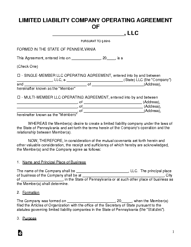 Pennsylvania Llc Operating Agreement Template