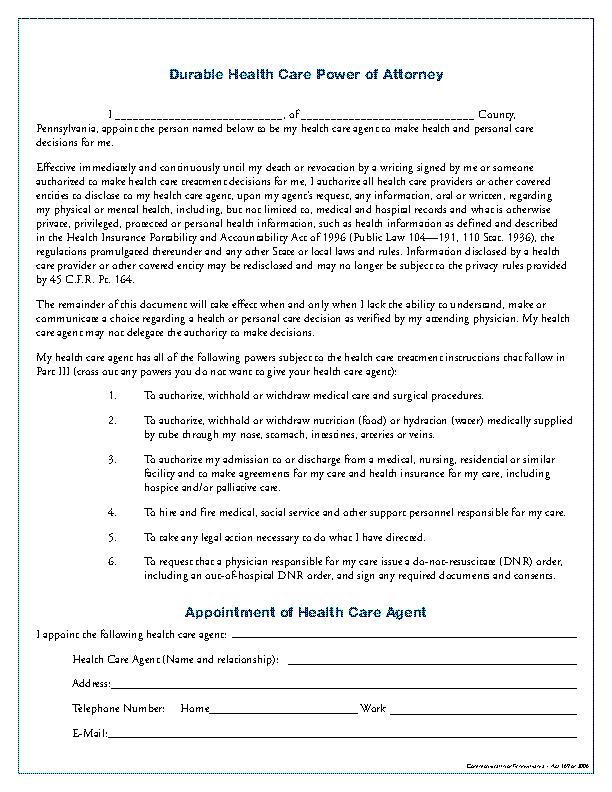 Pennsylvania Medical Power Of Attorney Form