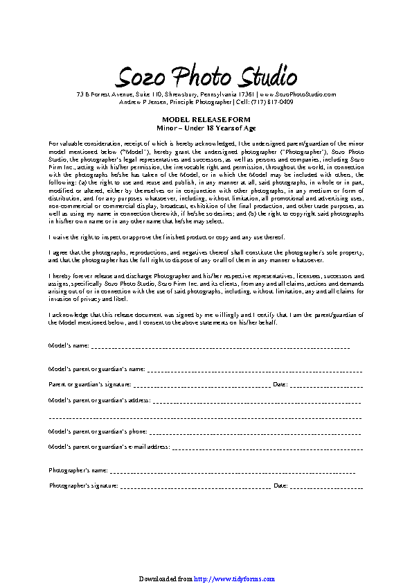 Pennsylvania Model Release Form For Minors