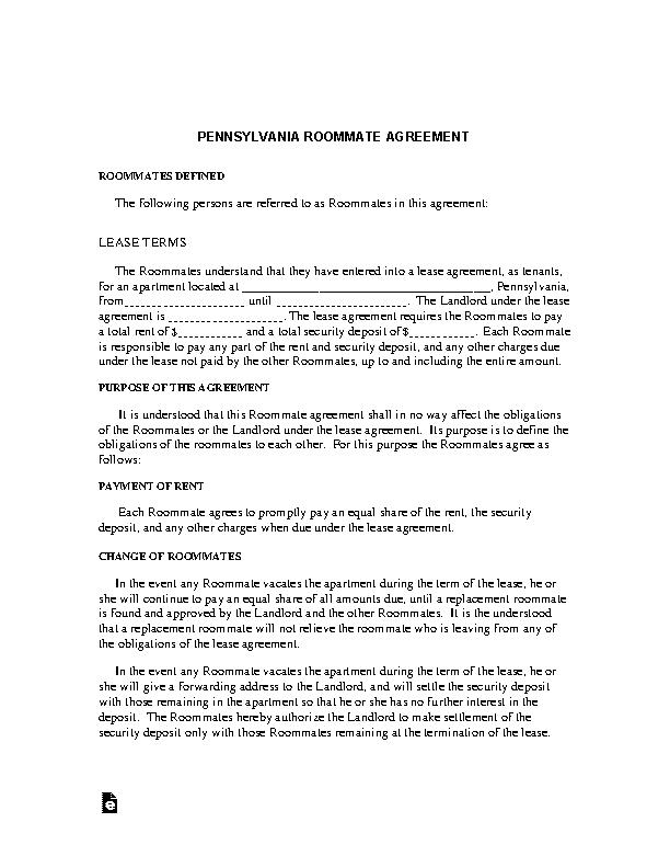 Pennsylvania Roommate Agreement Form