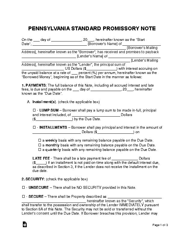 Pennsylvania Standard Promissory Note Template