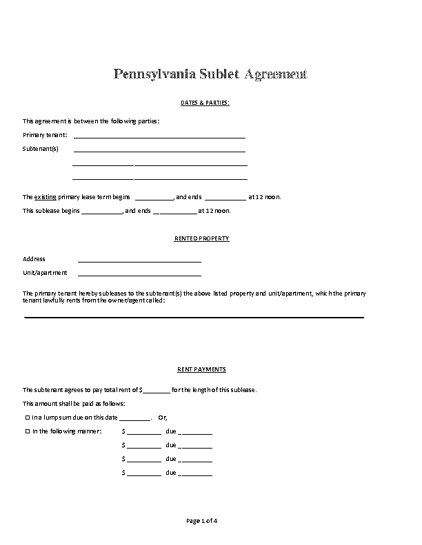 Pennsylvania Sublet Agreement Form