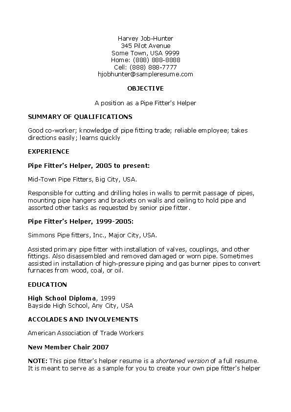 Pipefitter Helper Resume