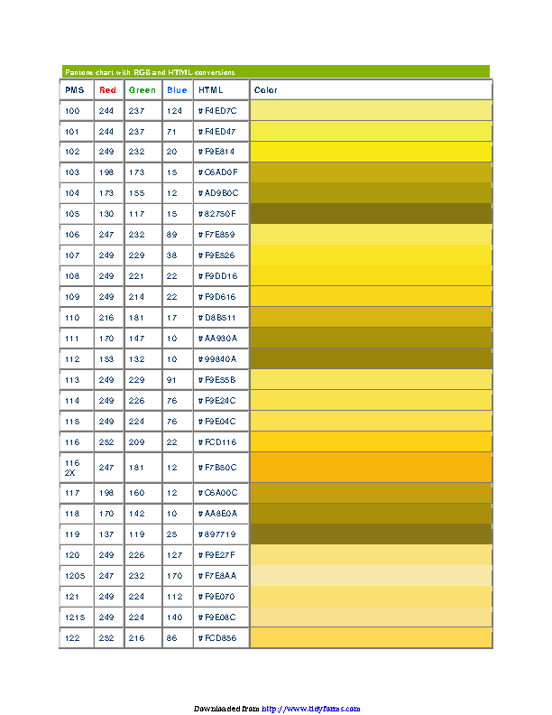 Pms Chart With Rgb Html Conversions