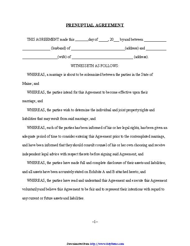 Prenuptial Agreement 1