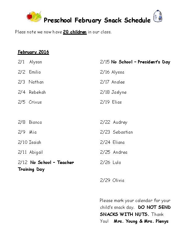 Preschool Snack Schedule
