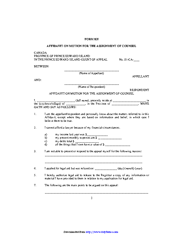 Prince Edward Island Affidavit On Motion For The Assignment Of Counsel Form