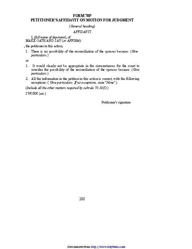 Prince Edward Island Petitioners Affidavit On Motion For Judgment Form