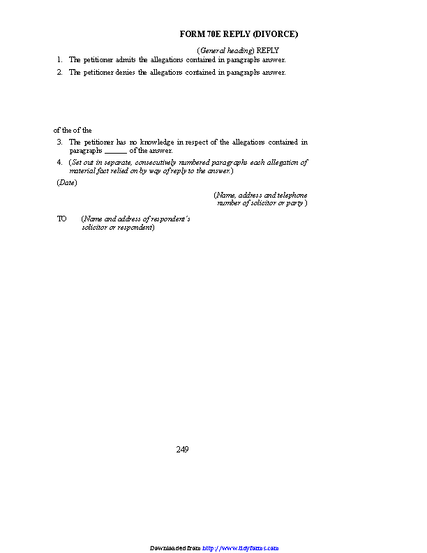 Prince Edward Island Reply Divorce Form