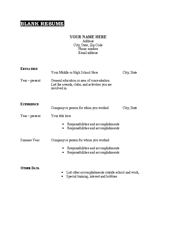 Printable Blank Resume Template Free Pdf Format Download