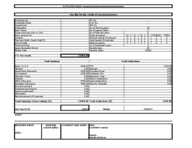Printable Employee Salary Slip Format Template Excel Download