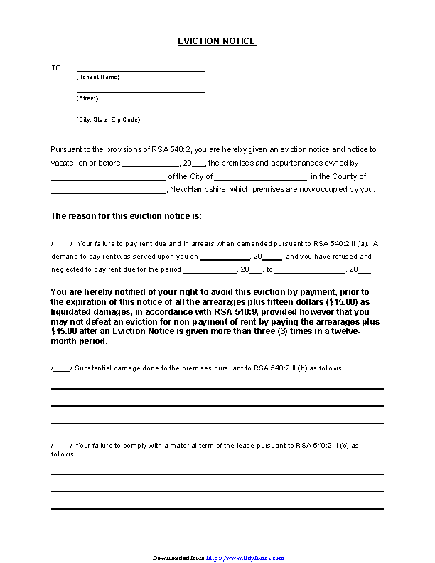 Eviction Notice Example | Printable Eviction Notice Form Pdfsimpli